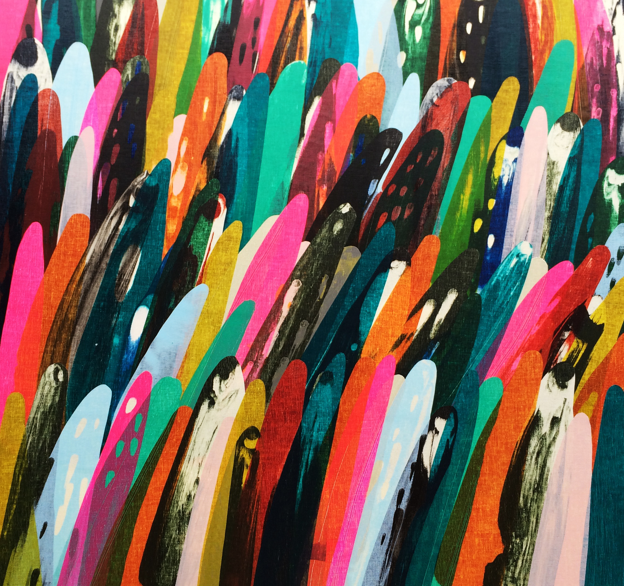 Abstract artwork containing brightly-coloured brushstrokes and shapes